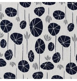 Anna Graham of Noodlehead Linen, Driftless, Lily Pads in Silver Fabric Half-Yards AFH-19018-186
