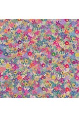 Robert Kaufman Happy Place, Cotton Lightweight Jersey Knit, Floral in Thistle WELD-19461-252, Fabric Half-Yards
