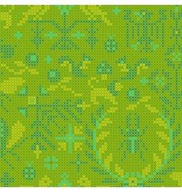 Alison Glass Sun Print 2020, Menagerie in Lichen, Fabric Half-Yards A-9387-G
