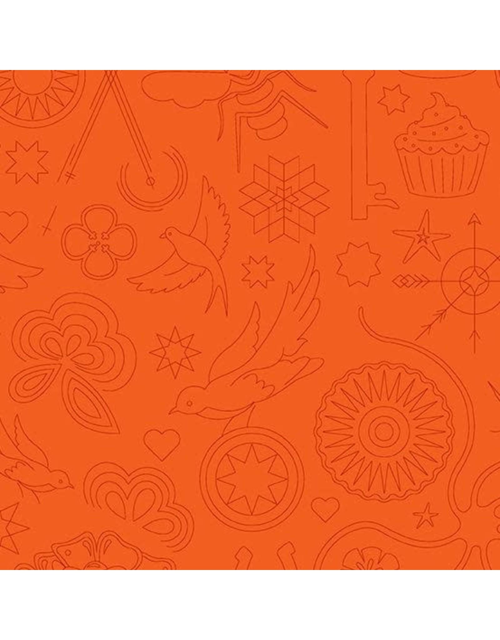 Alison Glass ON SALE-Sun Print 2020, Embroidery in Pumpkin, Fabric FULL-Yards