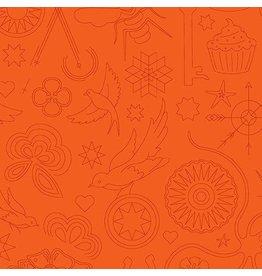 Alison Glass ON SALE-Sun Print 2020, Embroidery in Pumpkin, Fabric Half-Yards