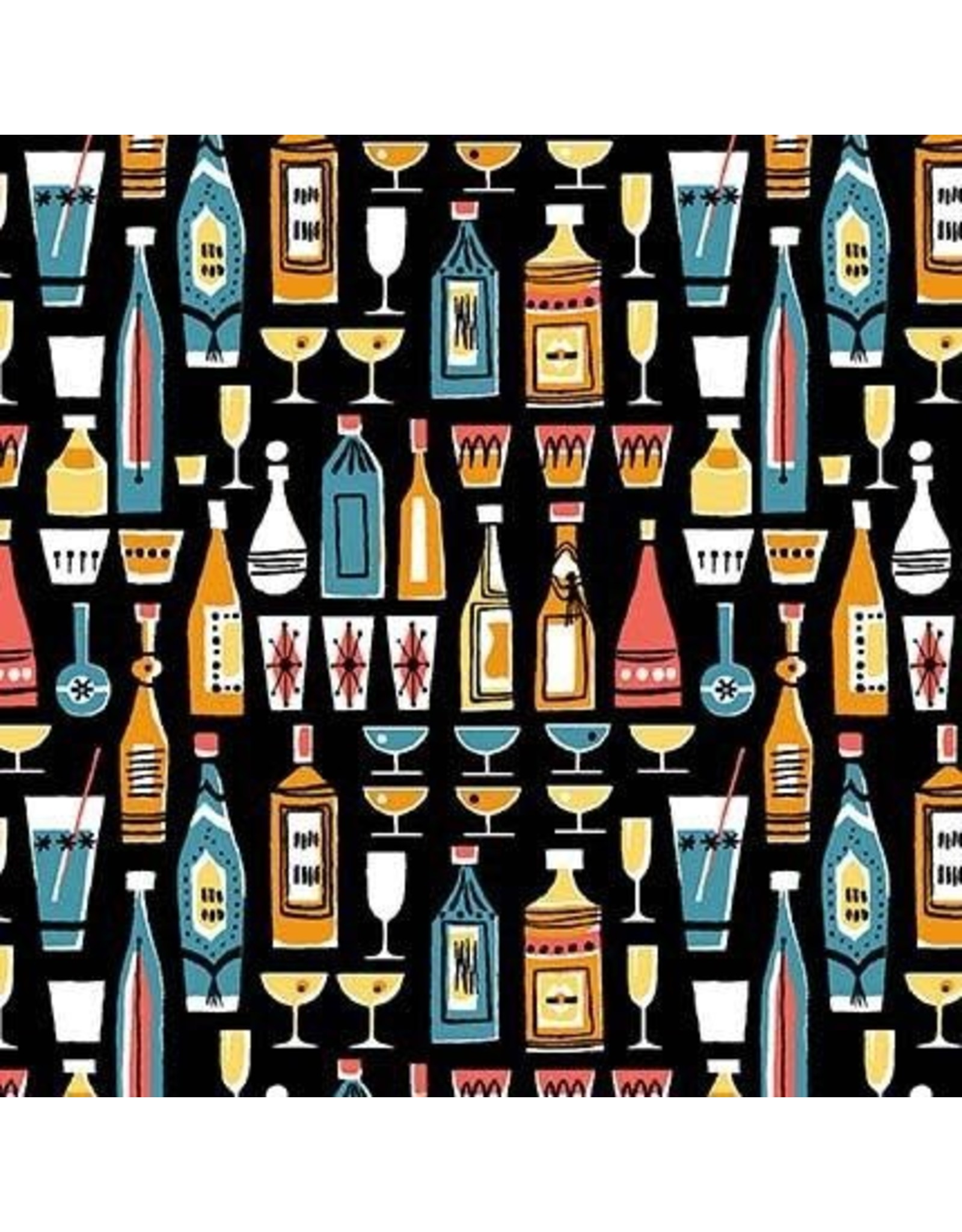 PD's Michael Miller Collection Kitschy Cocktails, Mothers Little Helper in Black, Dinner Napkin