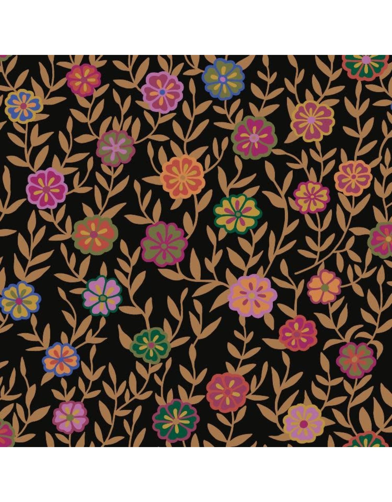 Kaffe Fassett Kaffe Collective 2020, Busy Lizzy in Black, Fabric Half-Yards  PWGP175