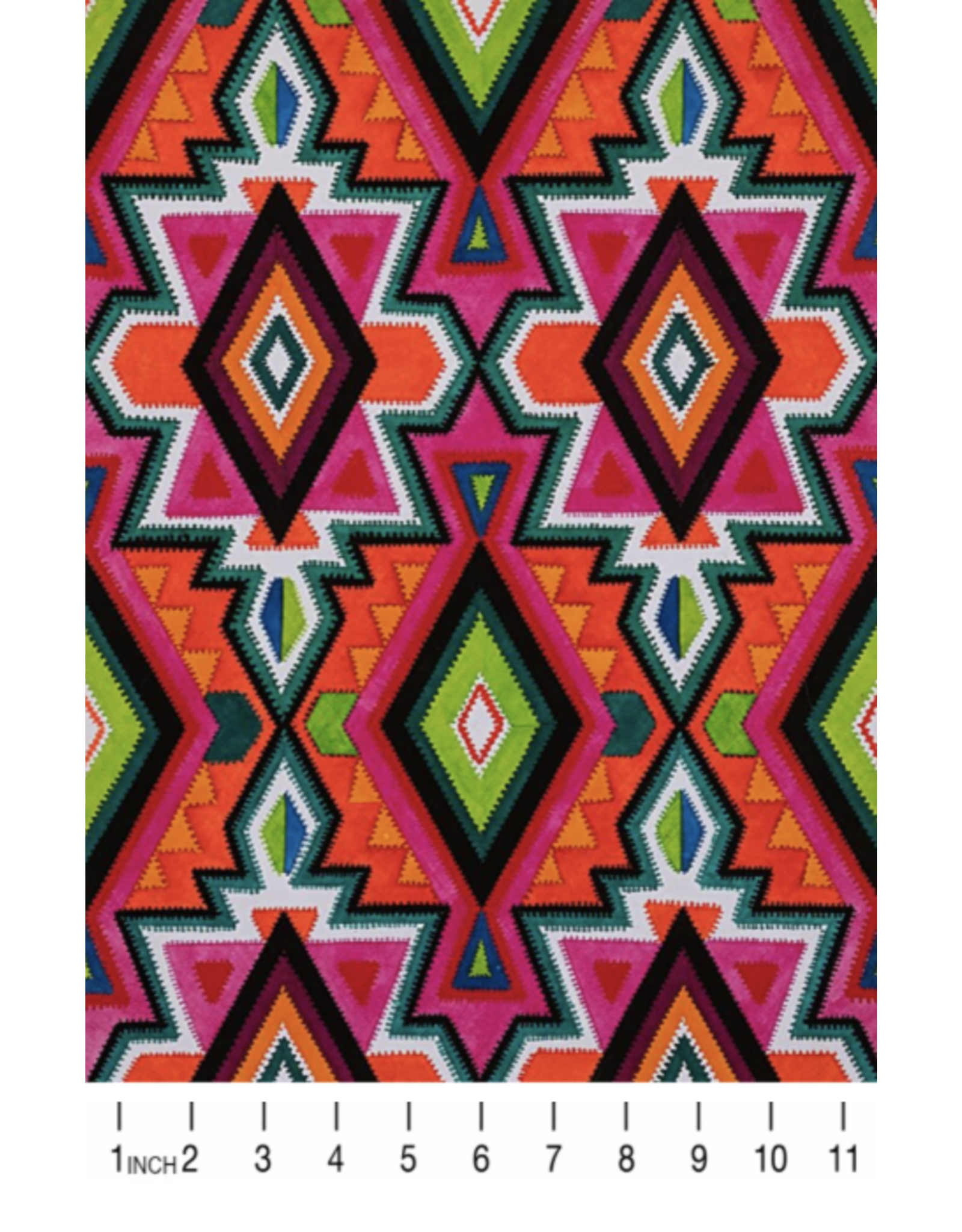 Alexander Henry Fabrics ON SALE-Folklorico, Dulce Eye Dazzler Caballo in Persimmon, Fabric FULL-Yards