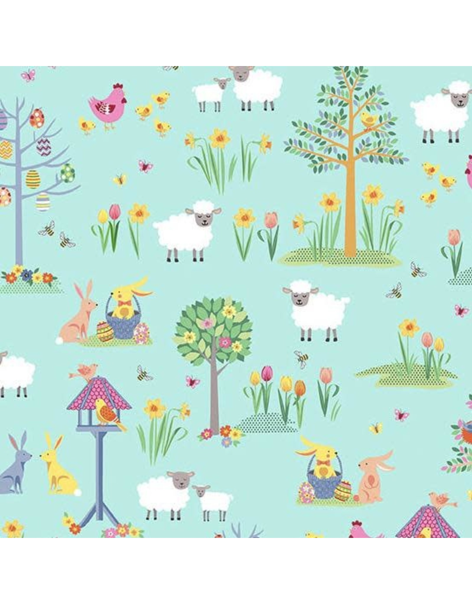 Andover Fabrics Spring, Easter Garden in Teal, Fabric Half-Yards TP-2187-T
