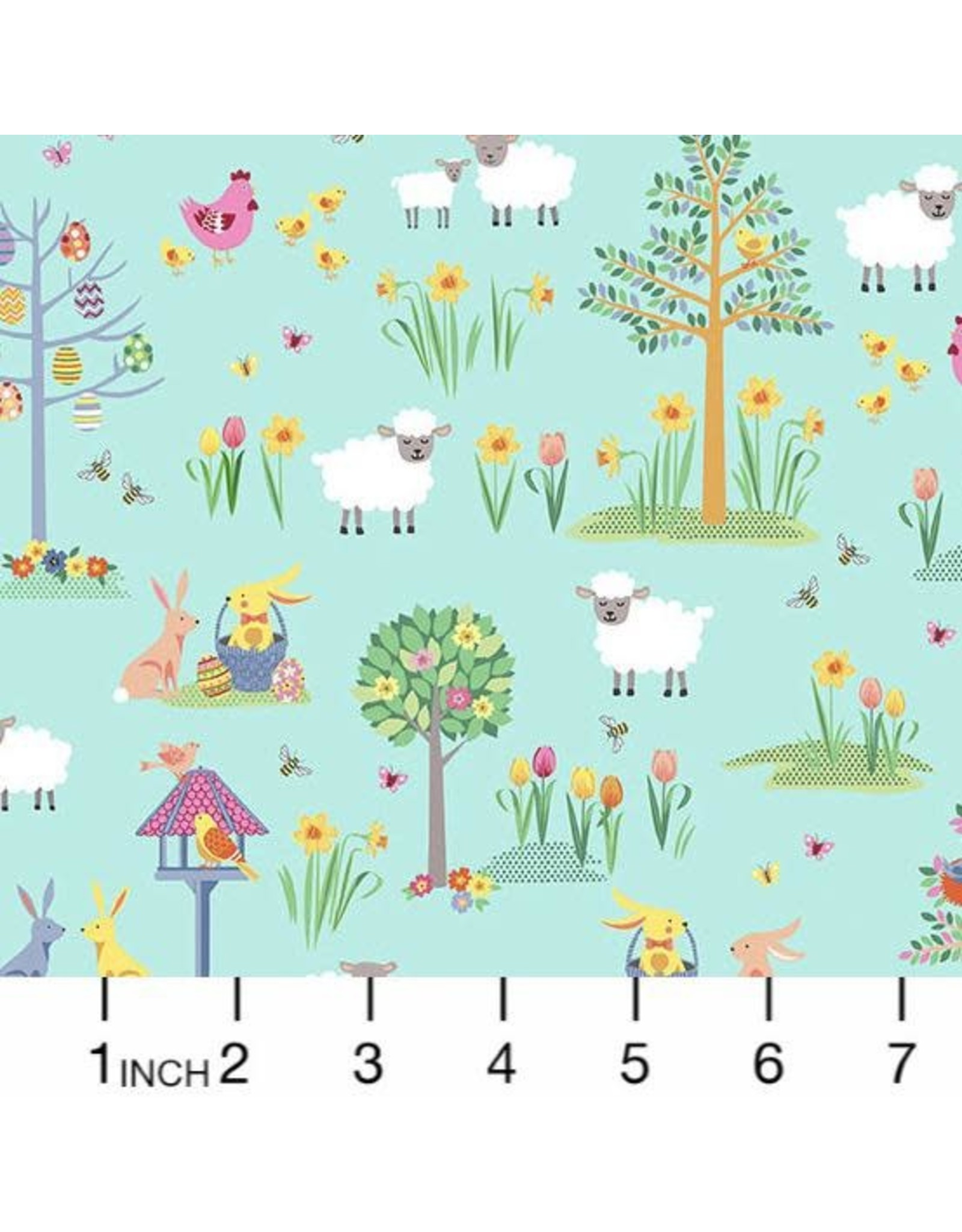 PD's Andover Collection Spring, Easter Garden in Teal, Dinner Napkin
