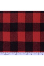 Marcus Fabrics Yarn Dyed Cotton Flannel, Primo Plaid in Buffalo Red, Fabric Half-Yards U112-0111