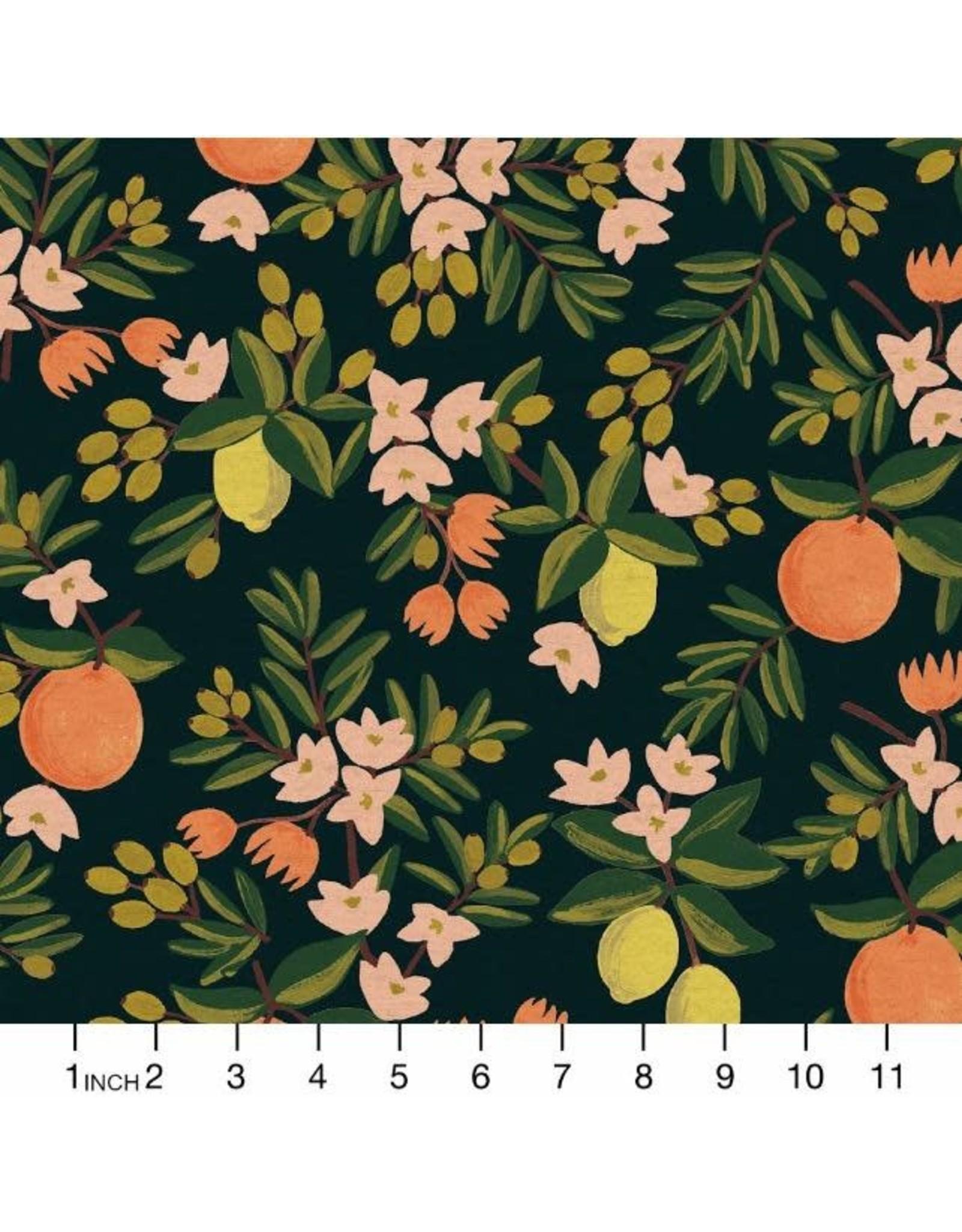 Rifle Paper Co. Linen/Cotton Canvas, Primavera, Citrus Floral in Black, Fabric Half-Yards RP300-BK5C
