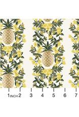 Rifle Paper Co. ON SALE-Primavera, Pineapple Stripe in Cream with Metallic, Fabric FULL-Yards