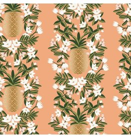 Rifle Paper Co. ON SALE-Primavera, Pineapple Stripe in Peach with Metallic, Fabric FULL-Yards