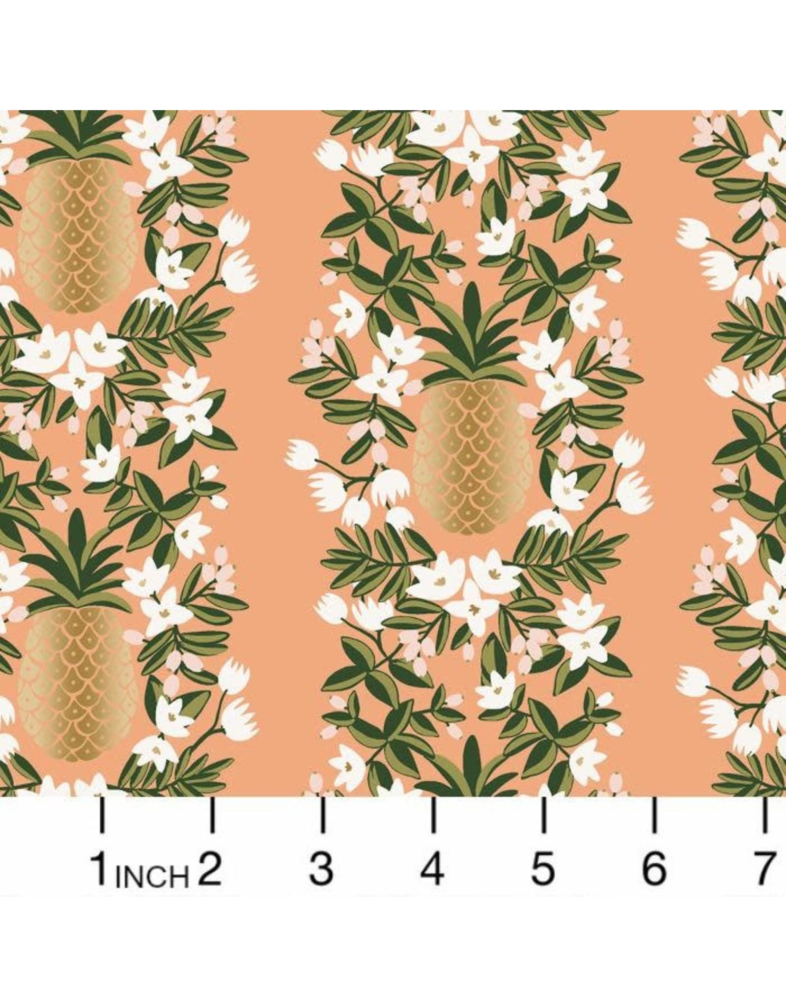 Rifle Paper Co. Primavera, Pineapple Stripe in Peach with Metallic, Fabric Half-Yards RP302-PH3M