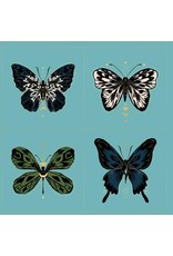 Sarah Watts ON SALE-Ruby Star Society, Tiger Fly, Gossamer Panel in Turquoise with Metallic, Fabric Panel RS2002 13M