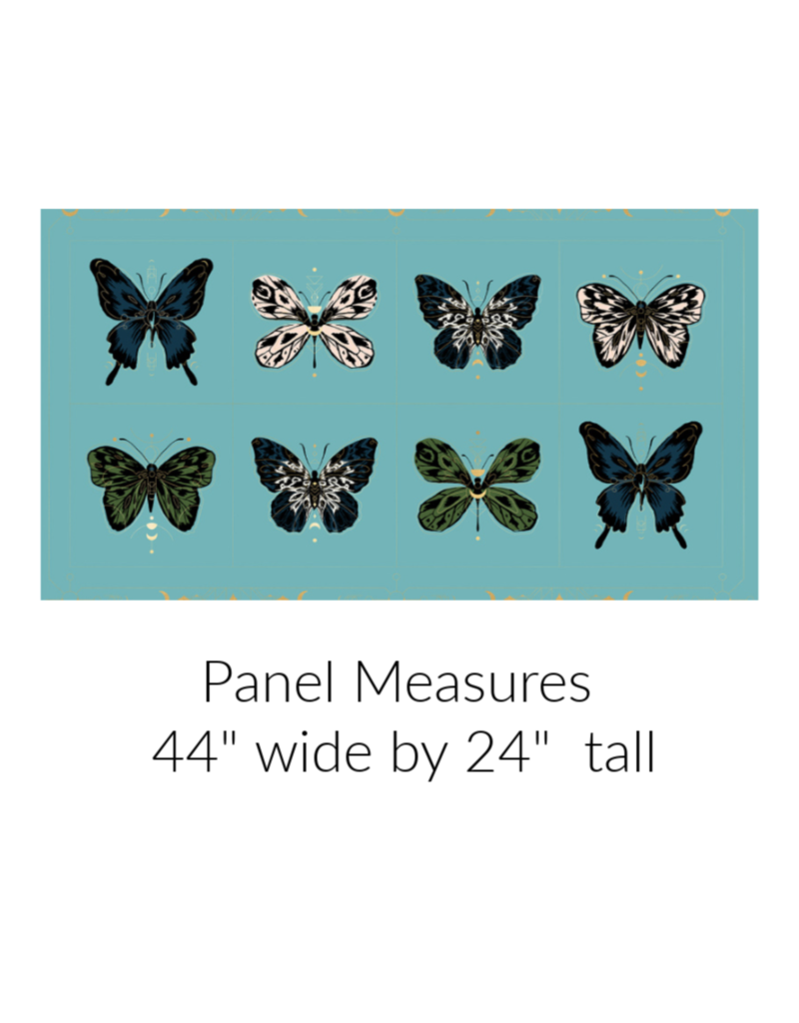 Sarah Watts Ruby Star Society, Tiger Fly, Gossamer Panel in Turquoise with Metallic, Fabric Panel RS2002 13M