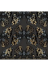 Sarah Watts Ruby Star Society, Tiger Fly, Queen Tigress in Ash with Metallic, Fabric Half-Yards RS2014 14M