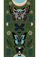 """Sarah Watts ON SALE-Ruby Star Society, Tiger Fly, Mother in Sarah Green with Metallic, 24"""" x 44"""" Fabric Panel RS2011 13M"""