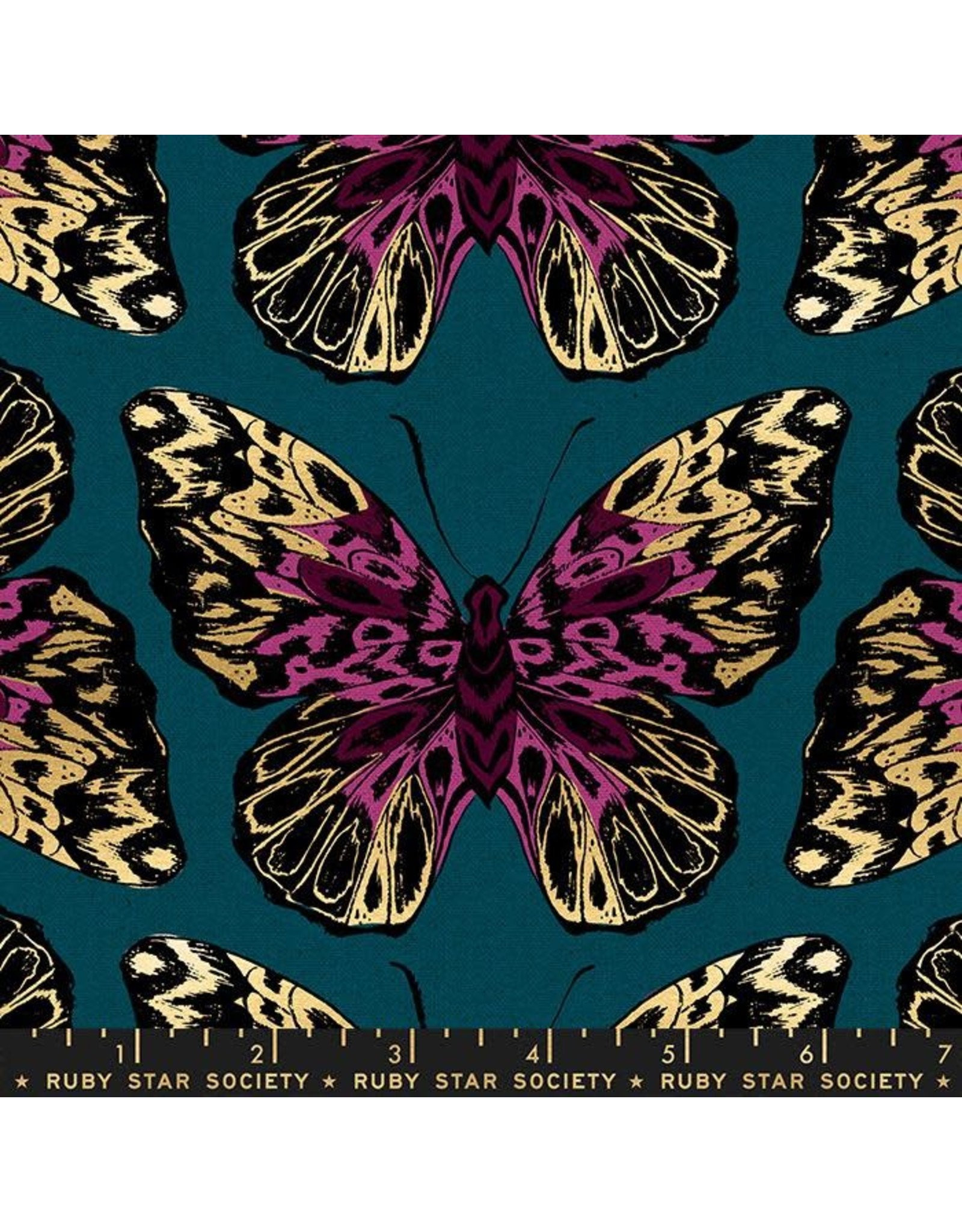 Sarah Watts Cotton Linen Canvas, Ruby Star Society, Tiger Fly, Queen in Teal with Metallic, Fabric Half-Yards RS2016 14LM
