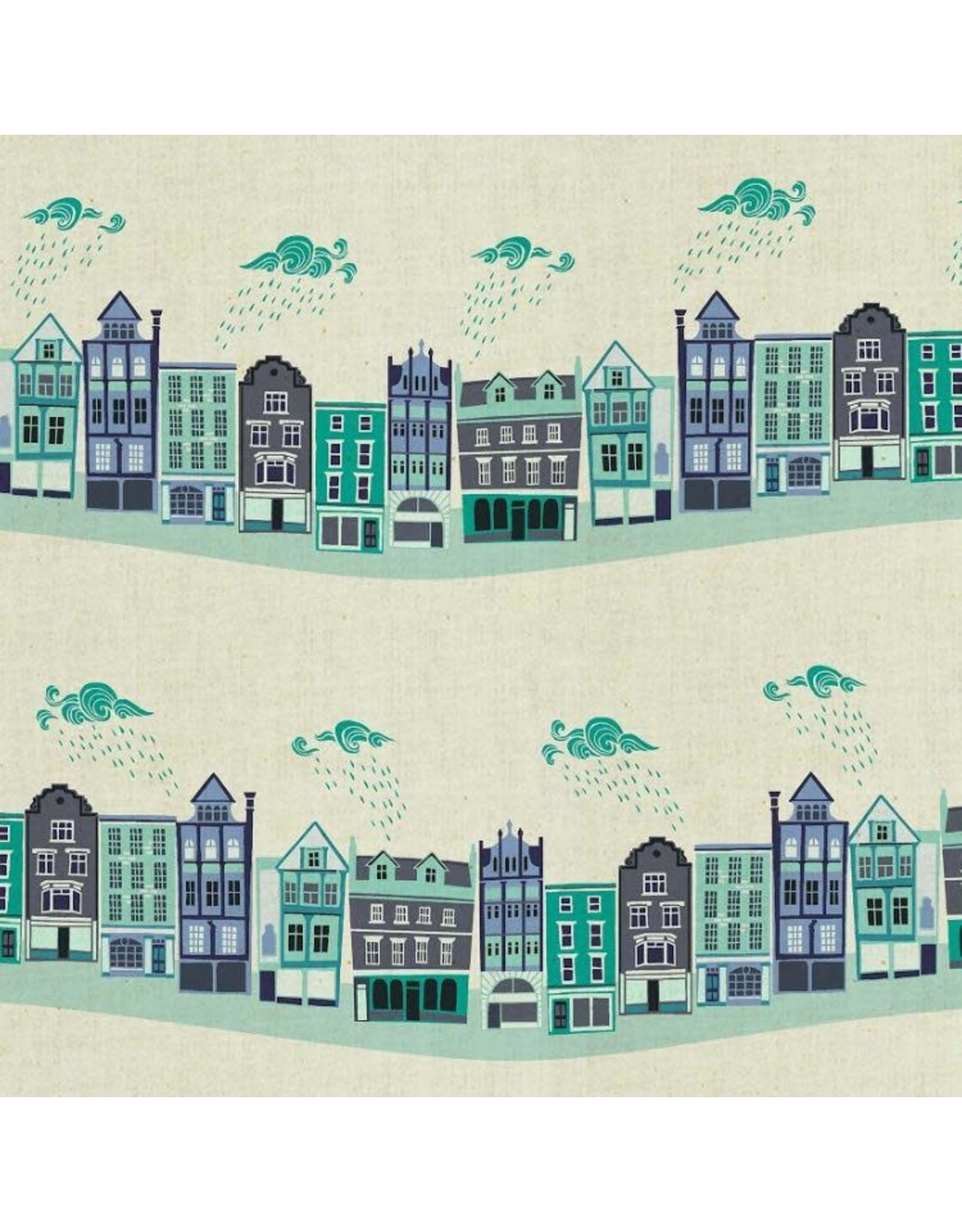 Cotton + Steel ON SALE-London Town, Kings Road in Teal on Unbleached Fabric, Fabric FULL-Yards