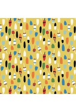 Elizabeth Grubaugh ON SALE-Out to Sea, Bobbing Buoys in Gold, Fabric FULL-Yards