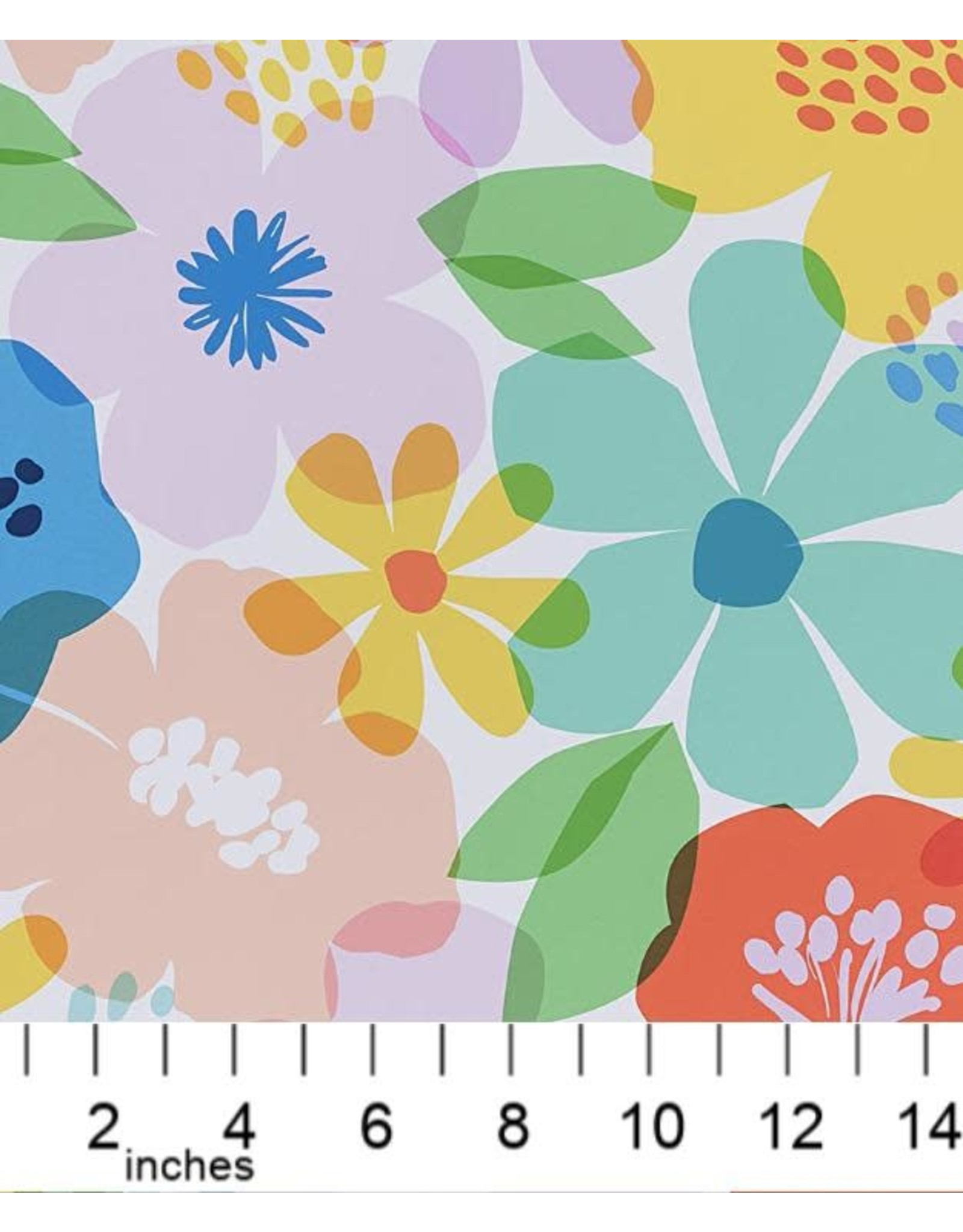 Alexander Henry Fabrics Boardwalk, Blossom in White, Fabric Half-Yards 8730A