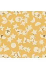 Rashida Coleman-Hale ON SALE-Ruby Star Society, Stellar, Space Junk in Butter with Gold Metallic, Fabric FULL-Yards