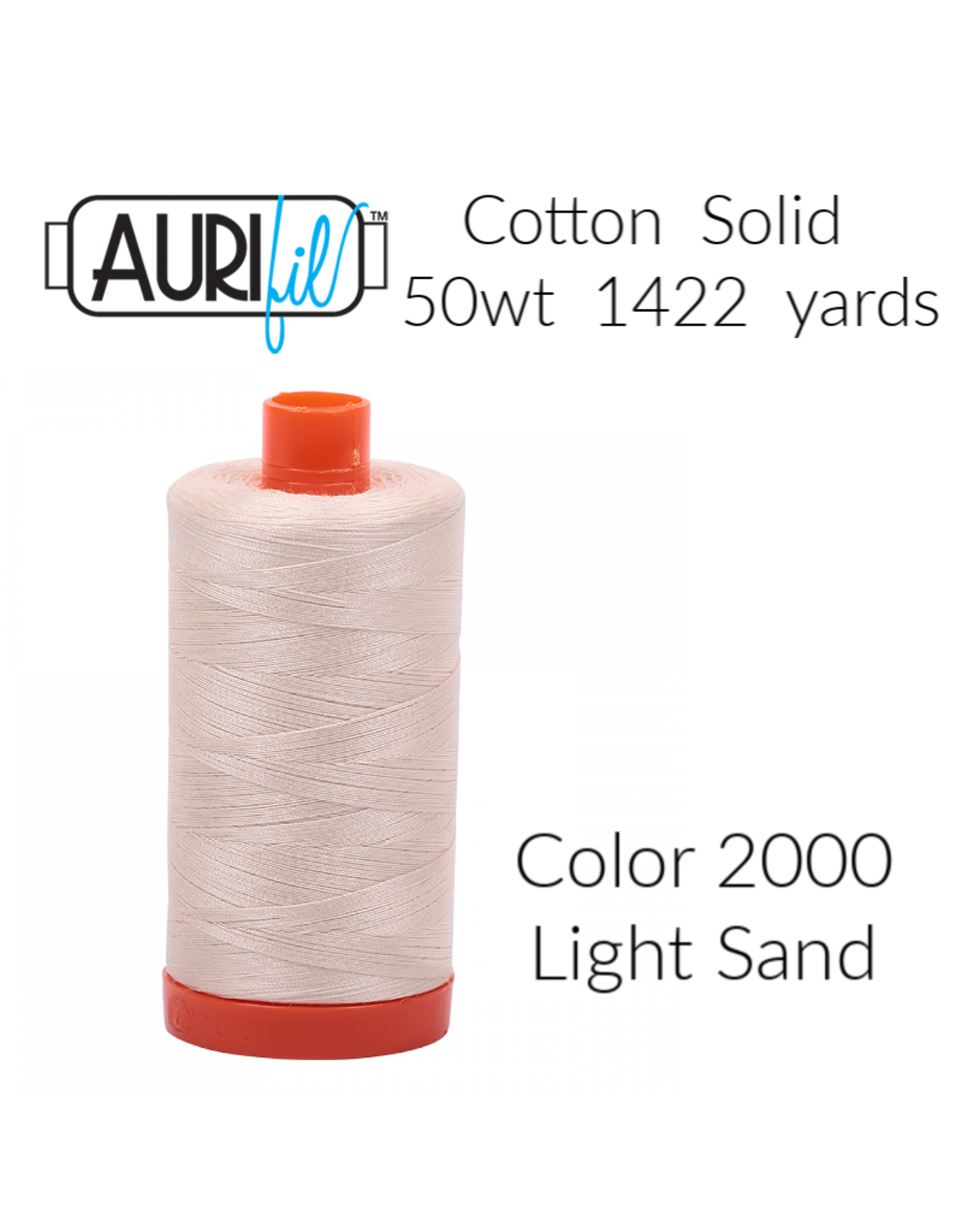PD Aurifil Thread, 50wt, 100% Cotton Mako, Large Spool 1422 yds. Color 2000: Light Sand