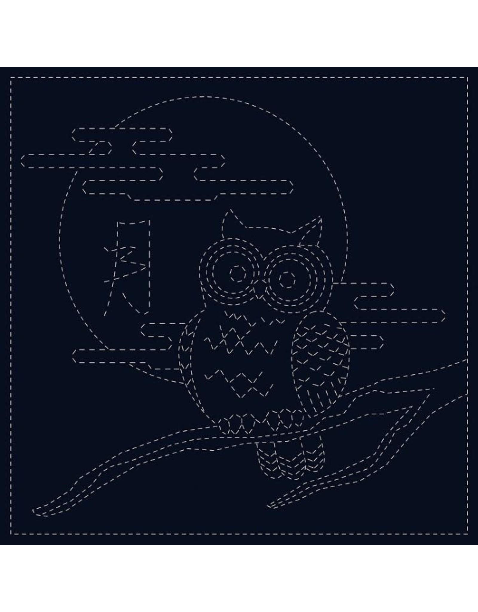 Japan Import Sashiko Cloth, Owl in Navy