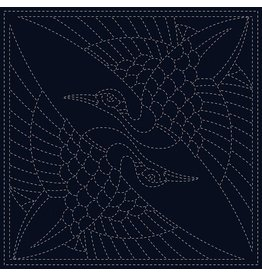 Japan Import Sashiko Cloth, Two Cranes in Navy