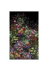Michael Miller Eat, Sleep, Garden, Bowers of Flowers Border Print in Black, Fabric Half-Yards DCX9059