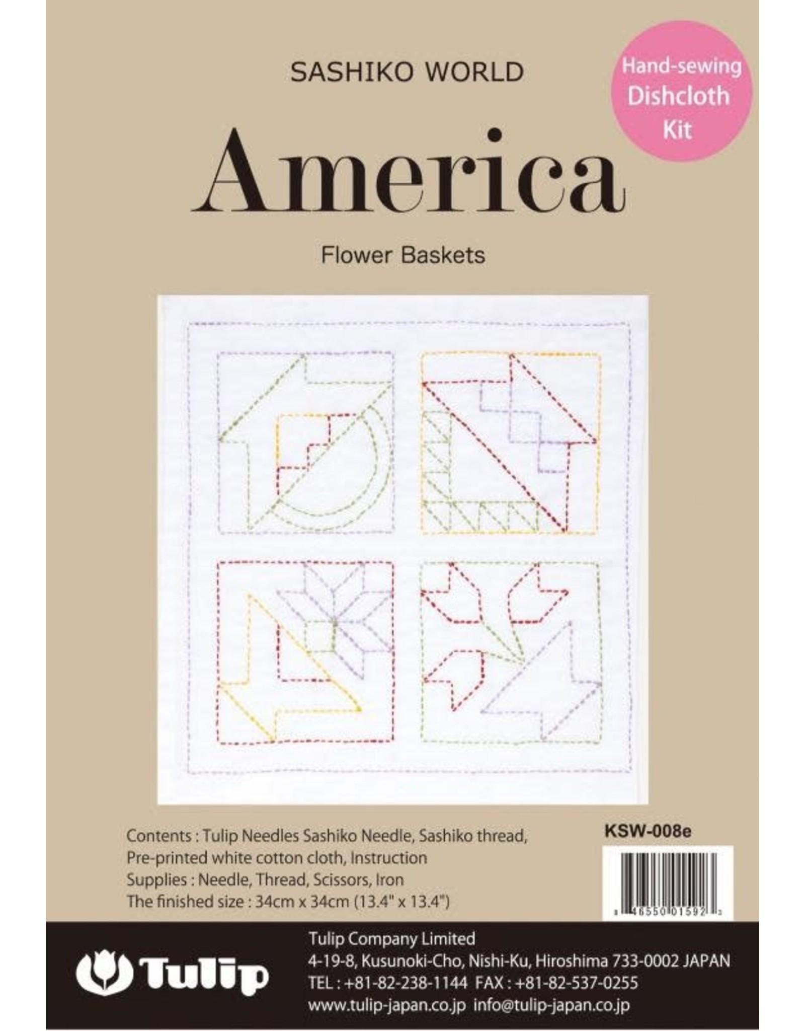 Tulip Sashiko World, America - Flower Baskets, Sashiko Kit, by Tulip
