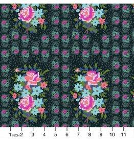 Anna Maria Horner Hindsight, Stitched Bouquet in Dim, Fabric Half-Yards PWAH147