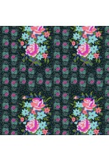 Anna Maria Horner Hindsight, Stitched Bouquet in Dim, Fabric Half-Yards PWAH147