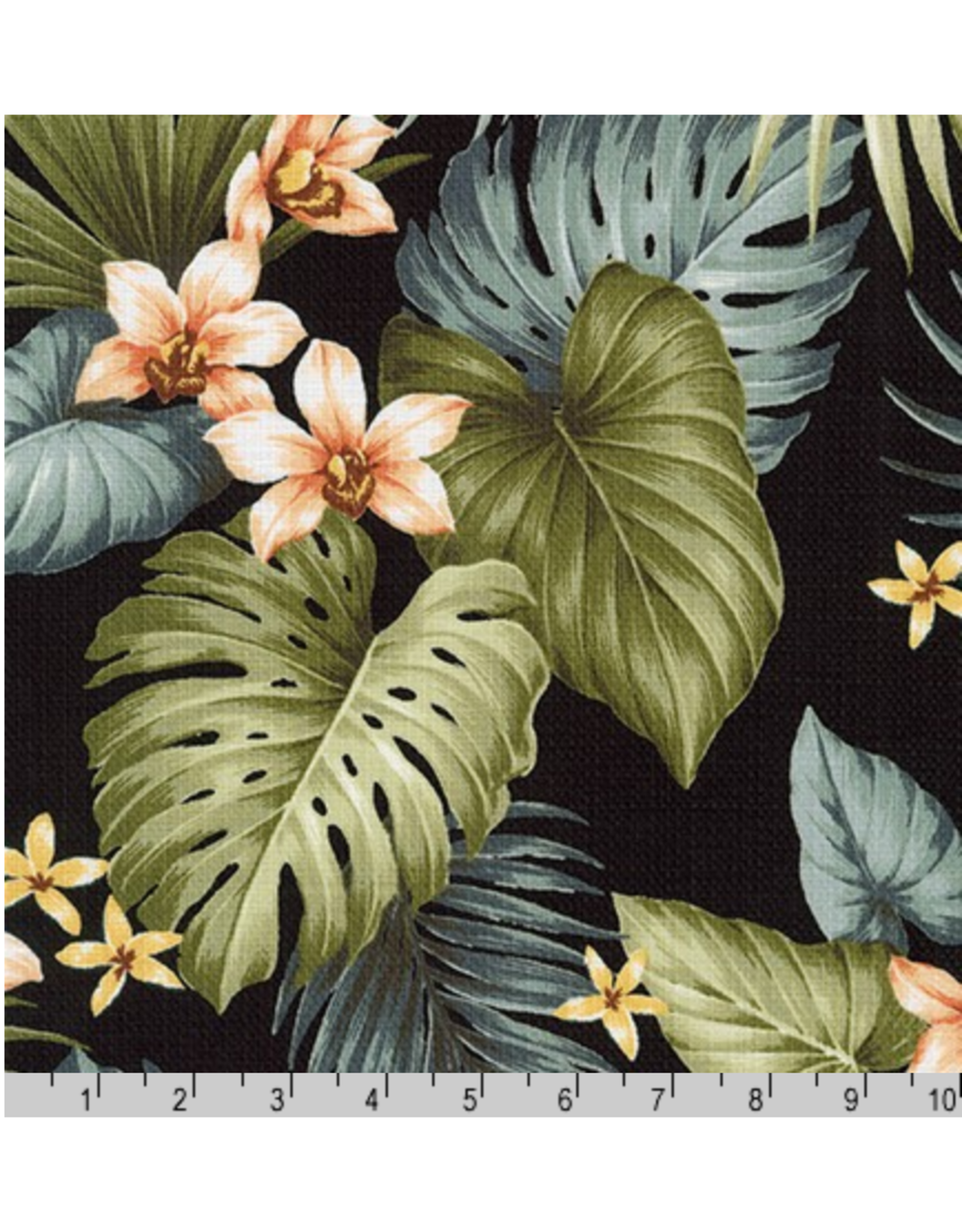 Sevenberry Barkcloth, Island Paradise, Orchids in Black, Fabric Half-Yards SB-4145D1-4