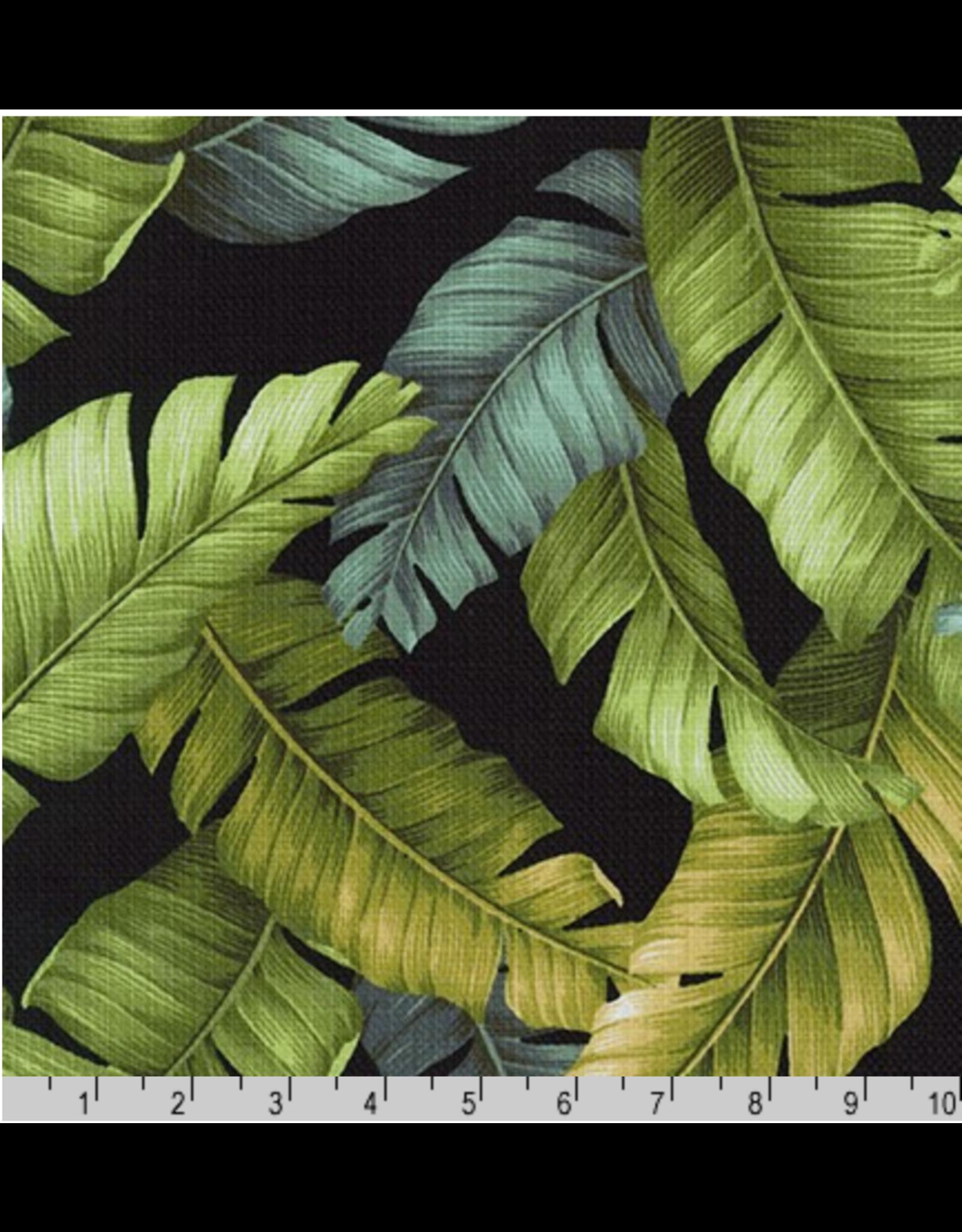 Sevenberry Barkcloth, Island Paradise, Palm Leaves in Black, Fabric Half-Yards SB-4145D2-5