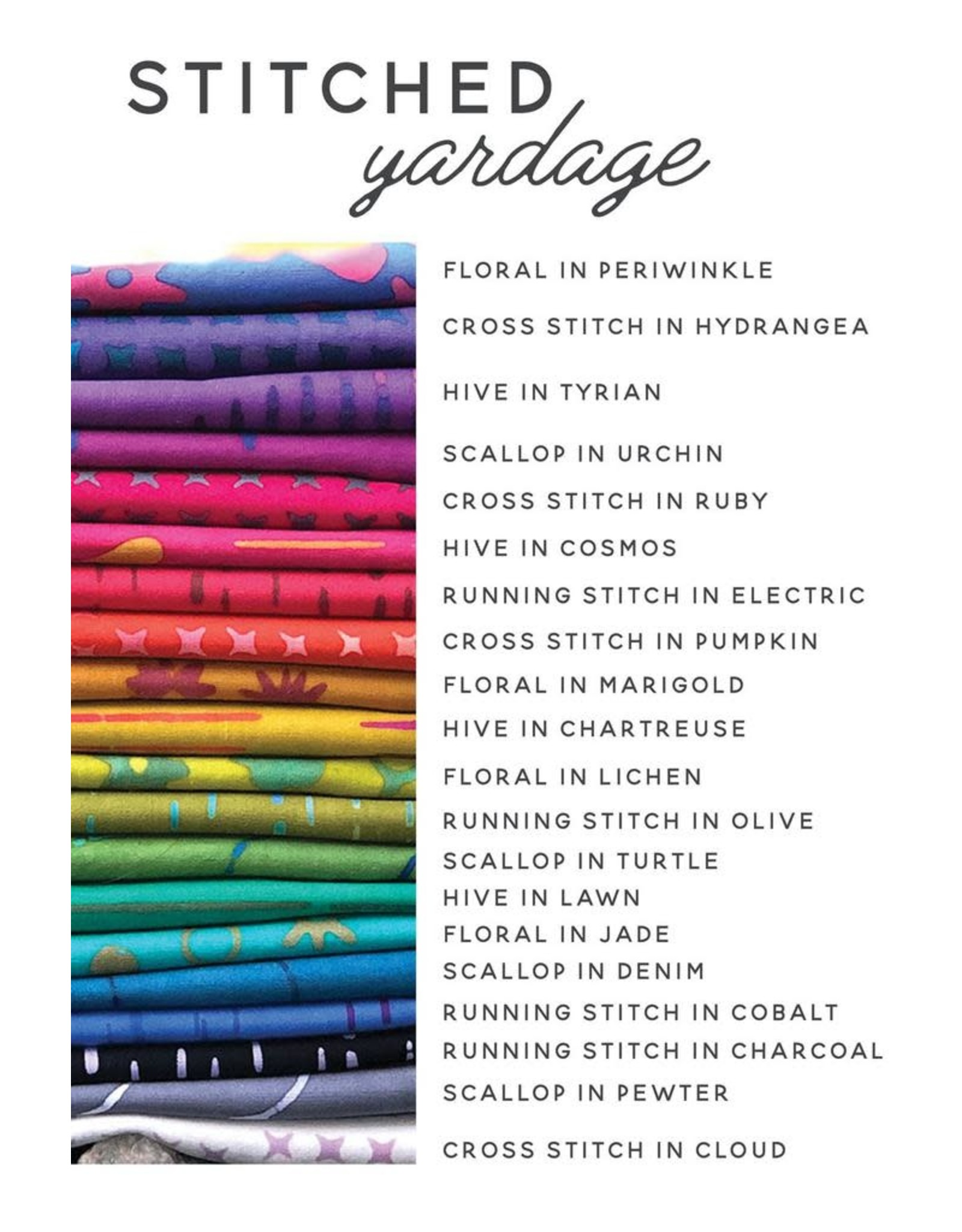Alison Glass Stitched Handcrafted, Running Stitch in Electric, Fabric Half-Yards AB-9038-R