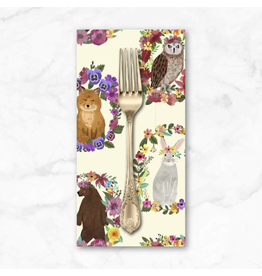 PD's Mia Charro Collection Forest Friends, Wood Rings in Ivory, Dinner Napkin