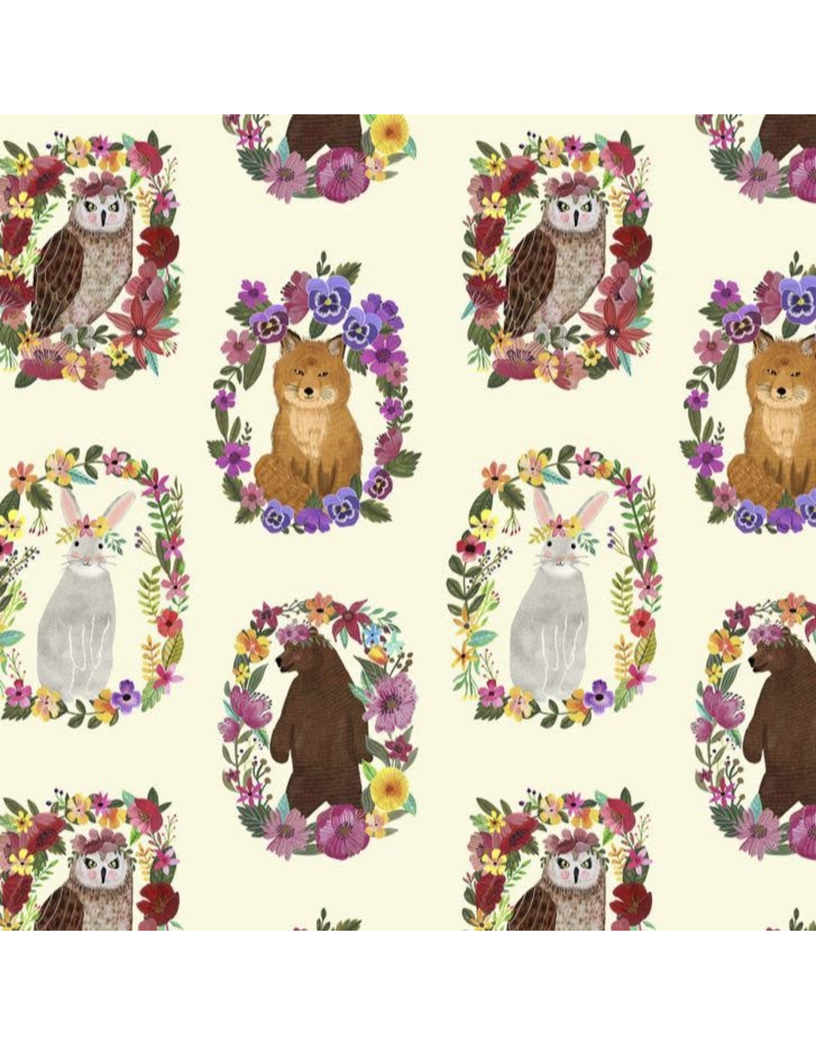 Mia Charro ON SALE-Forest Friends, Wood Rings in Ivory, Fabric Half-Yards 129.104.05.1
