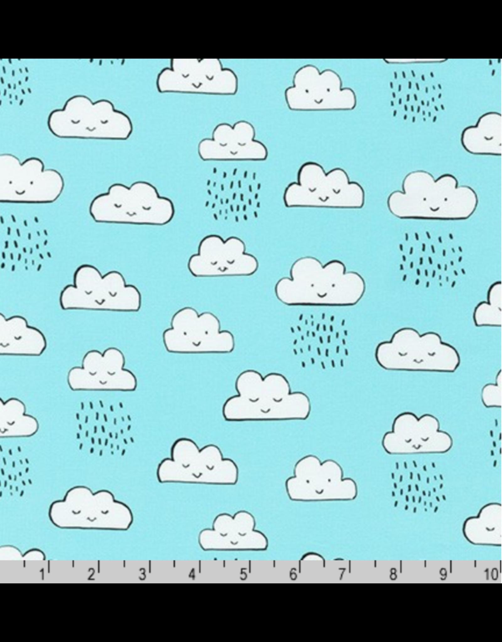 Robert Kaufman ON SALE-Neighborhood Pals, Clouds in Cloud, Fabric Half-Yards