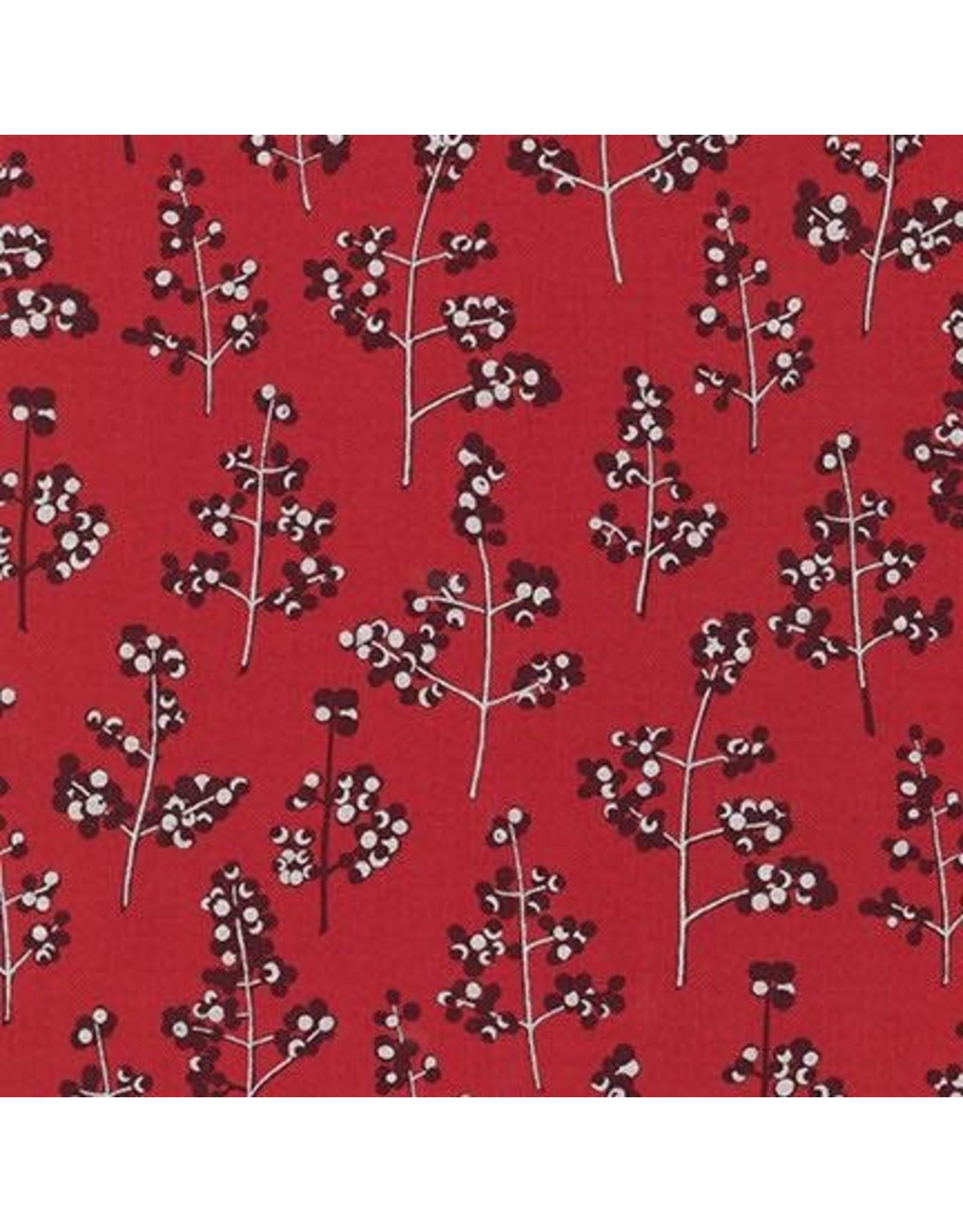Jennifer Sampou Winter Shimmer 2, Holly Berry in Crimson, Fabric Half-Yards AJSP-19945-91
