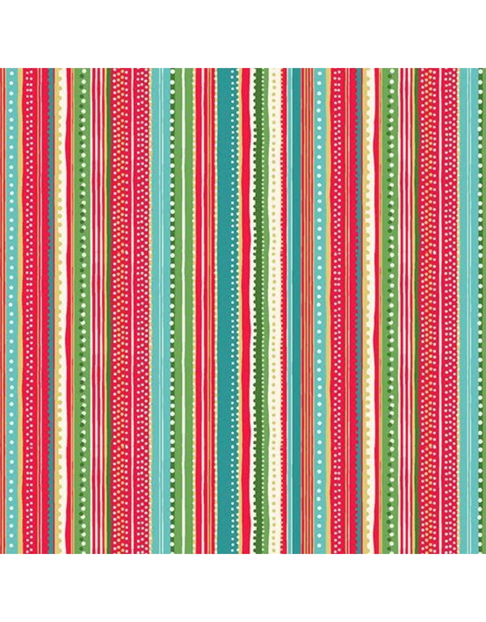 Andover Fabrics Let it Snow, Dottie Stripe in Multi, Fabric Half-Yards TP-1496-R