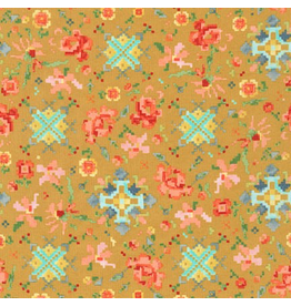Cotton Lawn, Woodland Clearing, Pixeled Floral in Ochre, Fabric Half-Yards