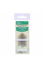 Clover Gold Eye Embroidery Needles - Set of 16, Sizes  No. 3-9