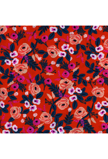 Rifle Paper Co. Rayon, Wonderland Painted Roses in Orange, Fabric Half-Yards