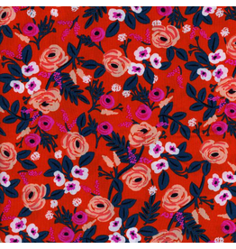 Rifle Paper Co. Rayon, Wonderland Painted Roses in Orange, Fabric Half-Yards