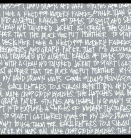 Carolyn Friedlander Architextures Wideback, Scribble Notes in Pewter, Fabric Half-Yards AFRX-18144-183