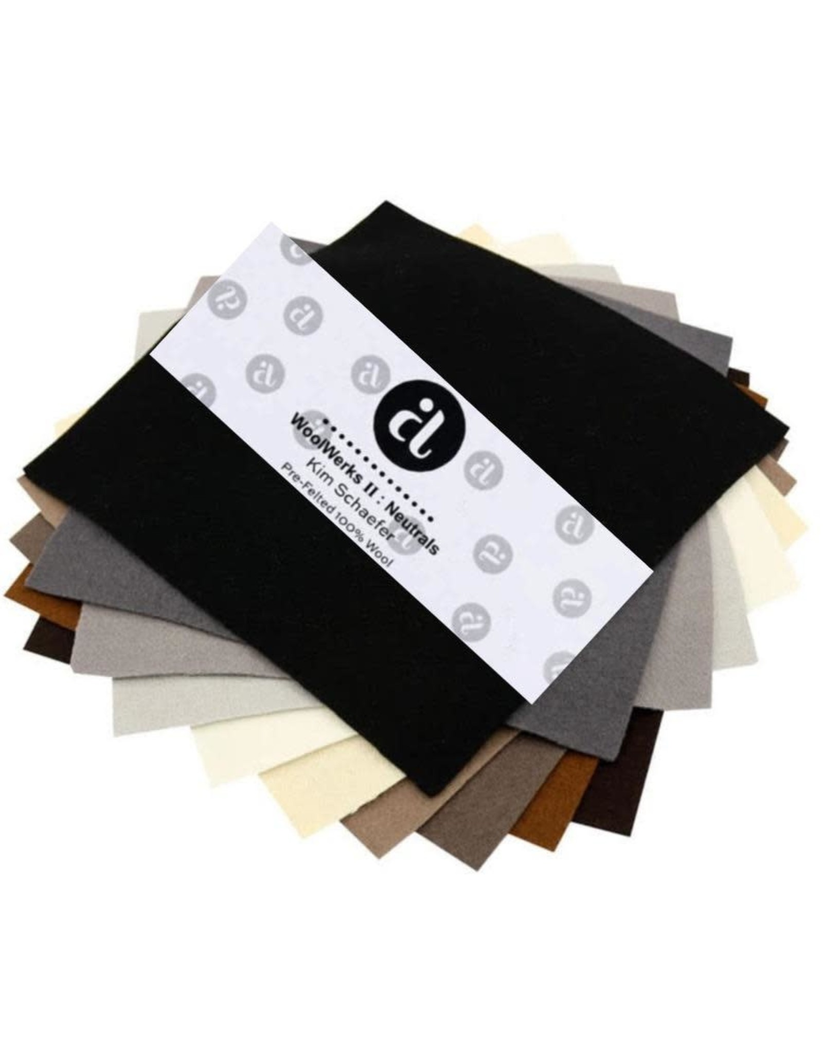 """Andover Fabrics WoolWerks II: Neutrals, Pre-Felted 100% Wool, charm pack of 10 ea. 5""""x5"""" pieces"""