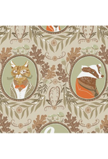 Rae Ritchie ON SALE-Black Forest, Fancy Animals in Wheat, Fabric full-Yards STELLA-SRR1156