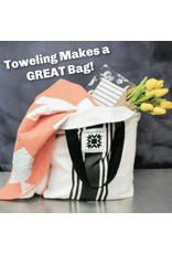 """Urban Chiks Woven Toweling, 16"""" wide, Urban Cottage Black with Grey Stripe, Sold by the Yard (ONE 22"""" CUT REMAINING)"""