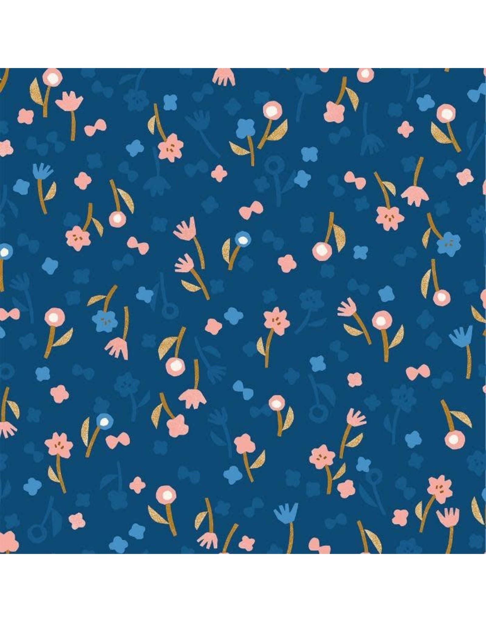 Cotton + Steel Rayon, Neko and Tori, Flower Picking in Blue, Fabric Half-Yards IN103-BL4R
