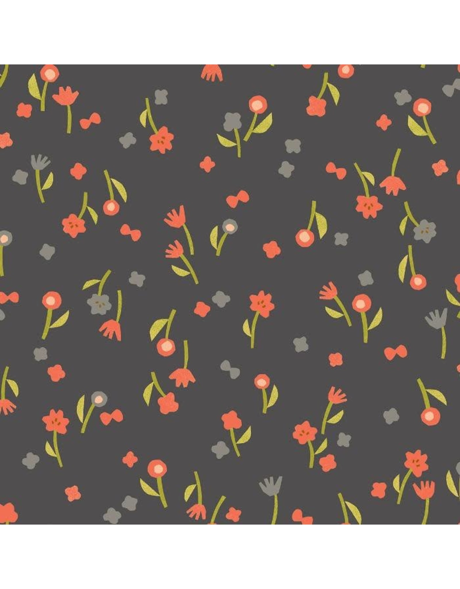Cotton + Steel Neko and Tori, Flower Picking in Charcoal, Fabric Half-Yards IN103-CH3