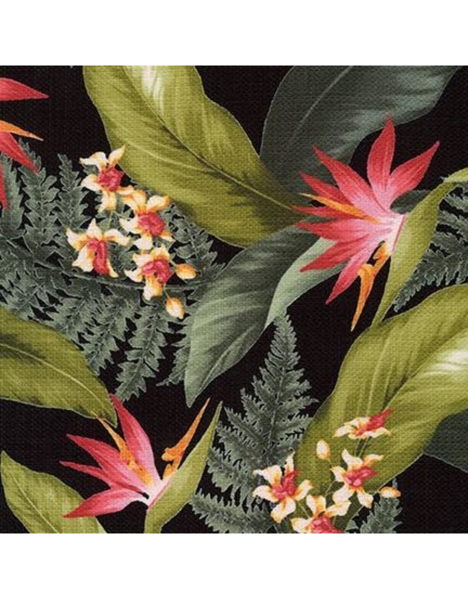 Sevenberry Barkcloth, Island Paradise, Bird of Paradise in Black, Fabric Half-Yards SB-4145D3-4